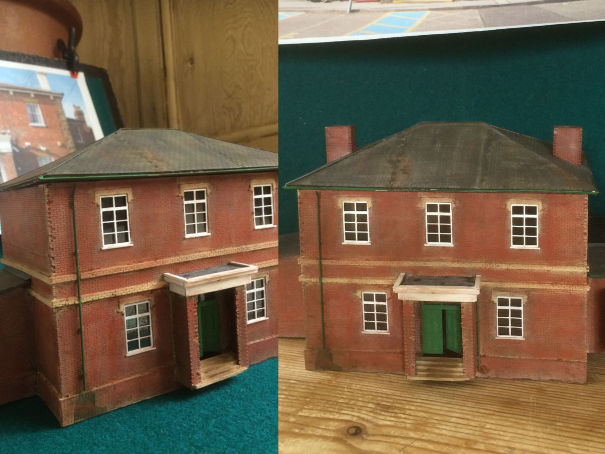 """A station based on station in Pulborough in West Sussex. Mostly parts from LCUT creative with some kitbashing as well,  along with scrap card and even wooden coffee stirrers where they can`t be seen."" Submitted by Martin Hendry on 15th September 2017"