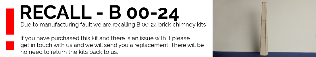 Due to manufacturing fault we are recalling B 00-24 brick chimeny kits  If you have purchased this kit and there is an issue with it please get in touch with us and we will send you a replacment. There will be no need to return the kits back to use.