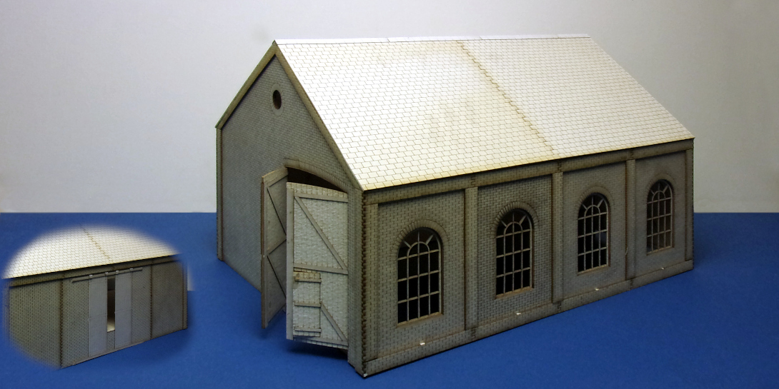 B 70-28 O gauge medium drive through goods shed