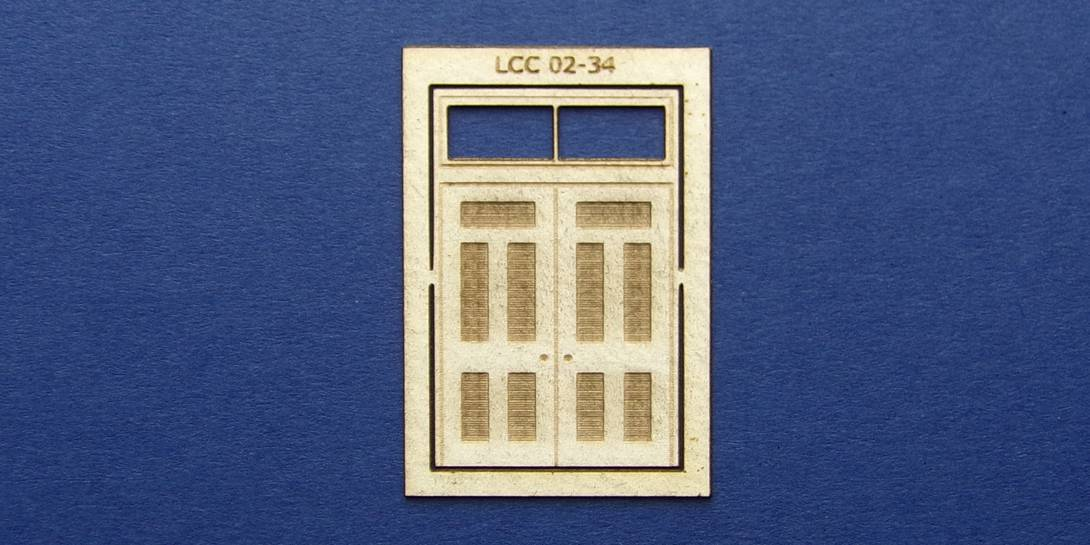 LCC 02-34 OO gauge double square door with transom type 2